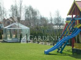 siltnamis aliuminio stiklinis gardenis