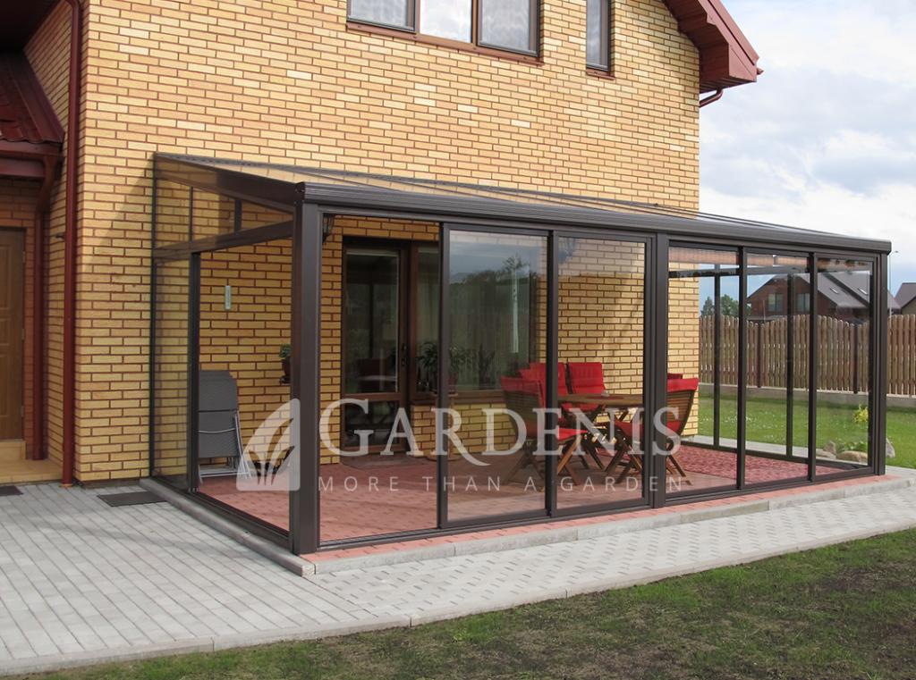 Stikline stogine veranda terasai - Gardenis