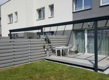 Aliuminio konstrukcijos stoginės terasai kotedžams Gardenis