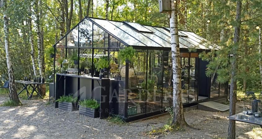 MAGNA siltnamis greenhouse vaxthuset drivhus kassvuhoone szklarnia Gardenis restaurant Food in the Wood