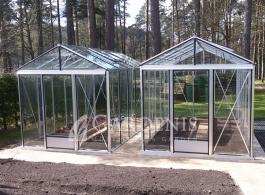 Šiltnamiai du VENTUS stiklo danga aliuminio rėmas Gardenis