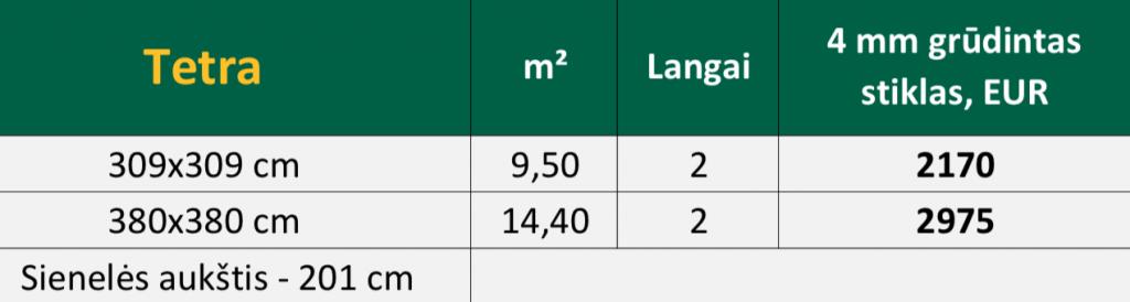 TETRA siltnamio oranzerijos kaina