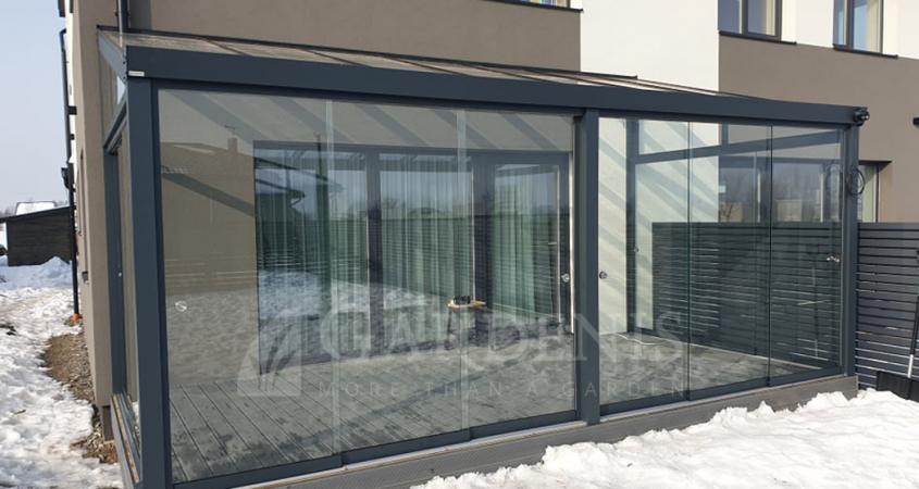 Veranda bereme sistema terasai gardenis frameless glazing